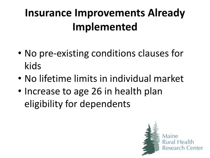 Insurance Improvements Already Implemented
