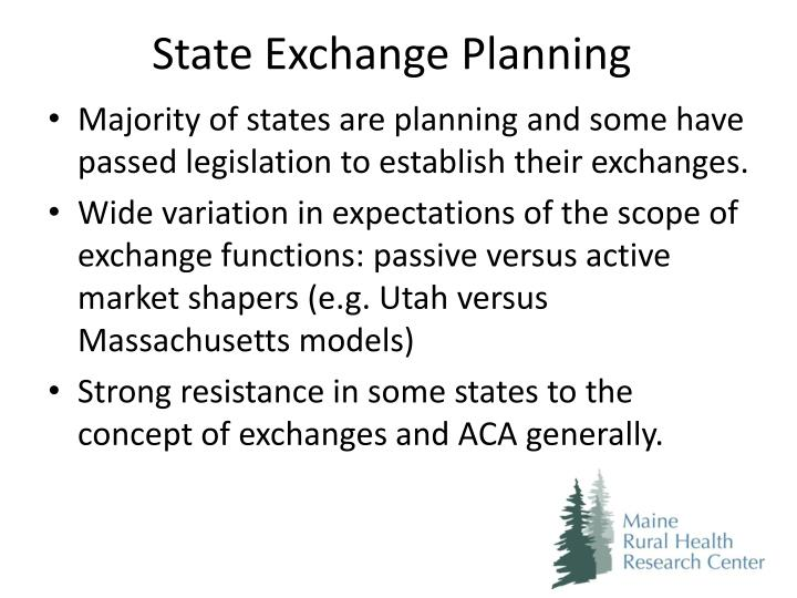 State Exchange Planning