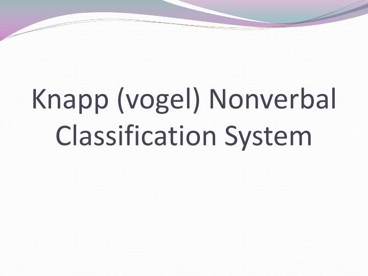 Knapp (vogel) Nonverbal Classification System