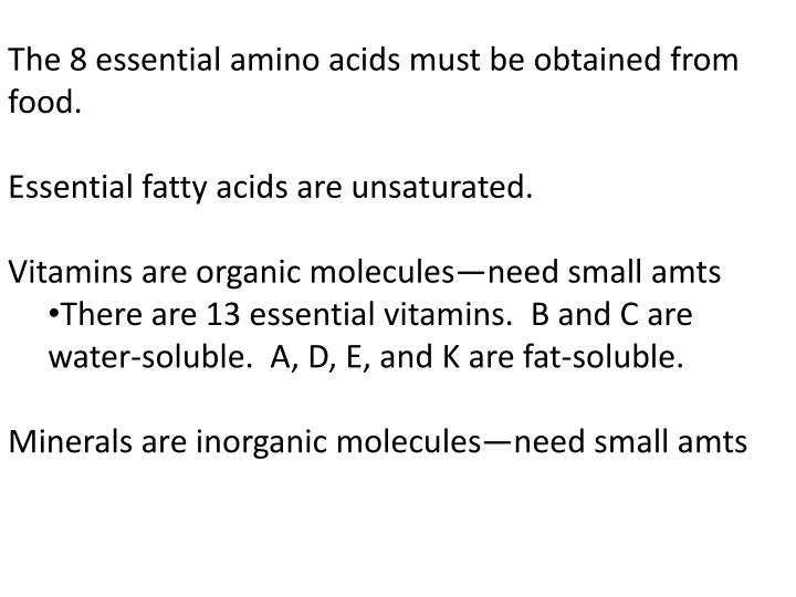 The 8 essential amino acids must be