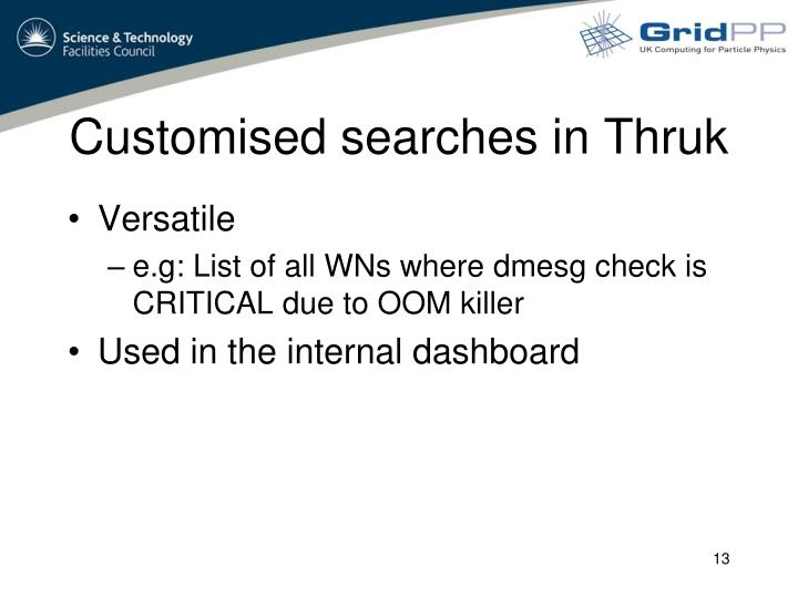 Customised searches in Thruk