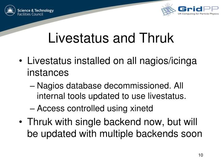Livestatus and Thruk