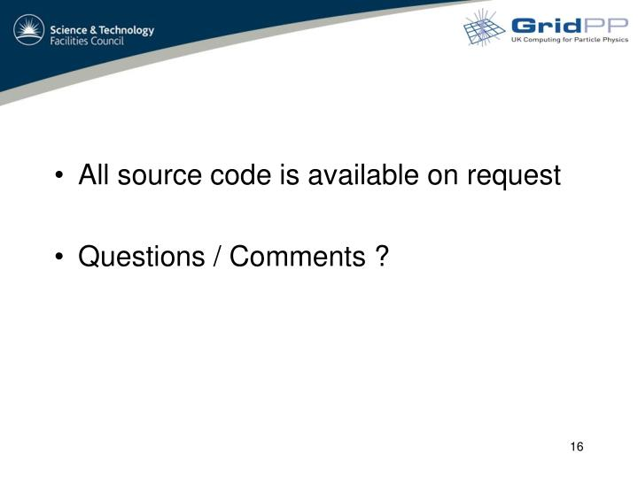 All source code is available on request