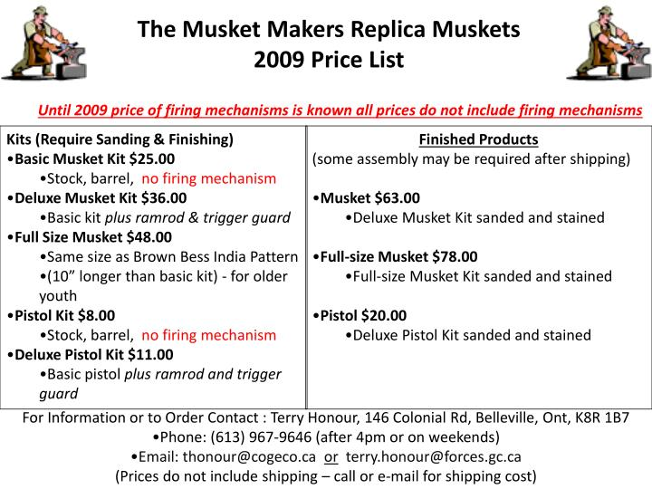 The musket makers replica muskets 2009 price list