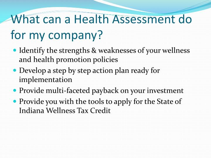 What can a Health Assessment do for my company?
