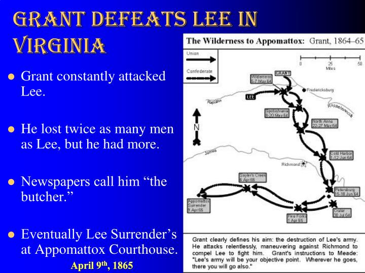 Grant defeats Lee in Virginia