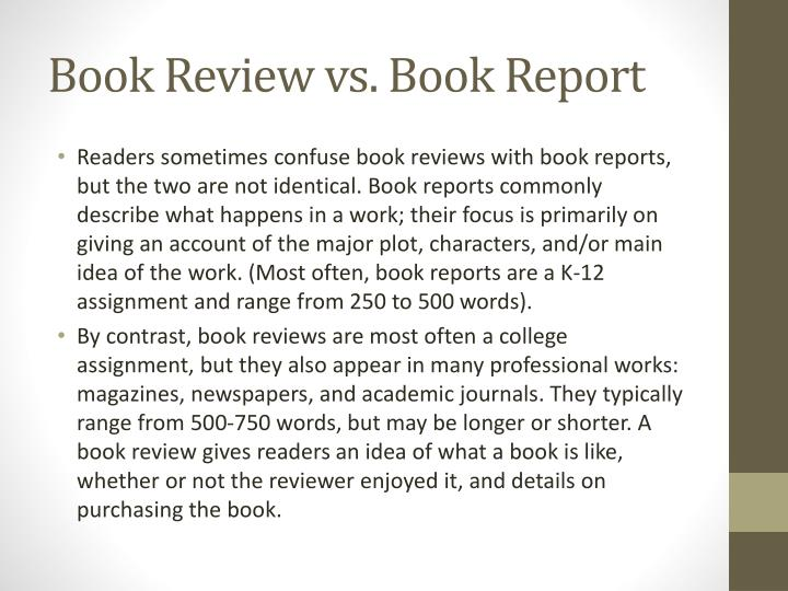 Book Review vs. Book Report