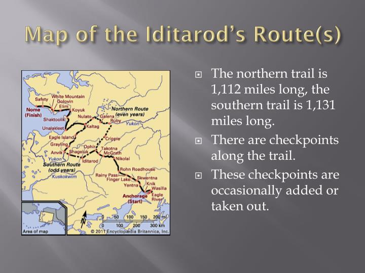 Map of the Iditarod's Route(s)