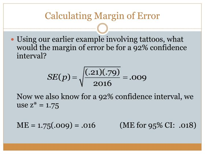 Calculating Margin of Error