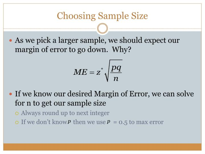 Choosing Sample Size