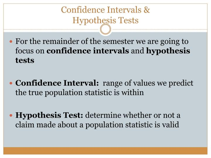 Confidence intervals hypothesis tests
