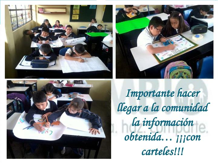Importante hacer llegar a la comunidad la información obtenida… ¡¡¡con carteles!!!