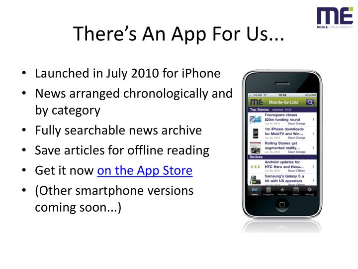 There's An App For Us...