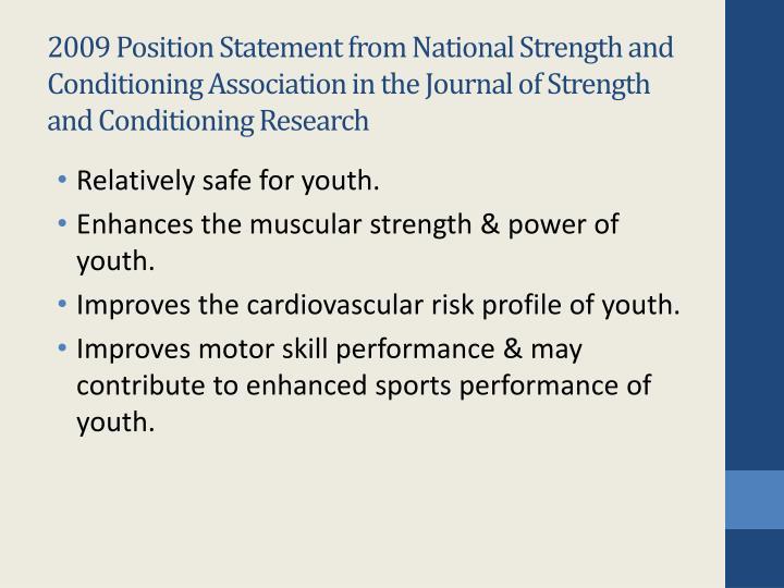 2009 Position Statement