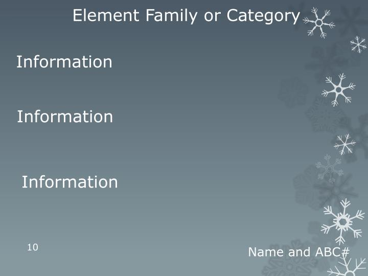 Element Family or Category