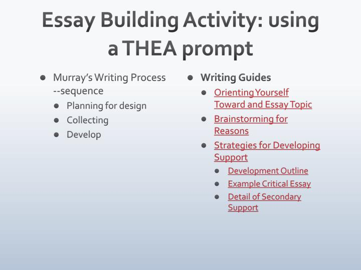 Essay Building Activity: using a THEA prompt