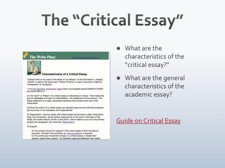 "The ""Critical Essay"""