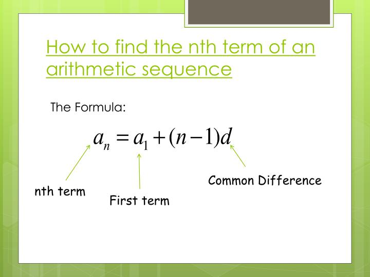 How to find the nth term of an arithmetic sequence