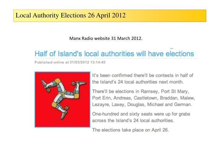 Local Authority Elections 26 April 2012