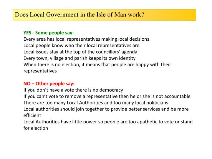 Does Local Government in the Isle of Man work?