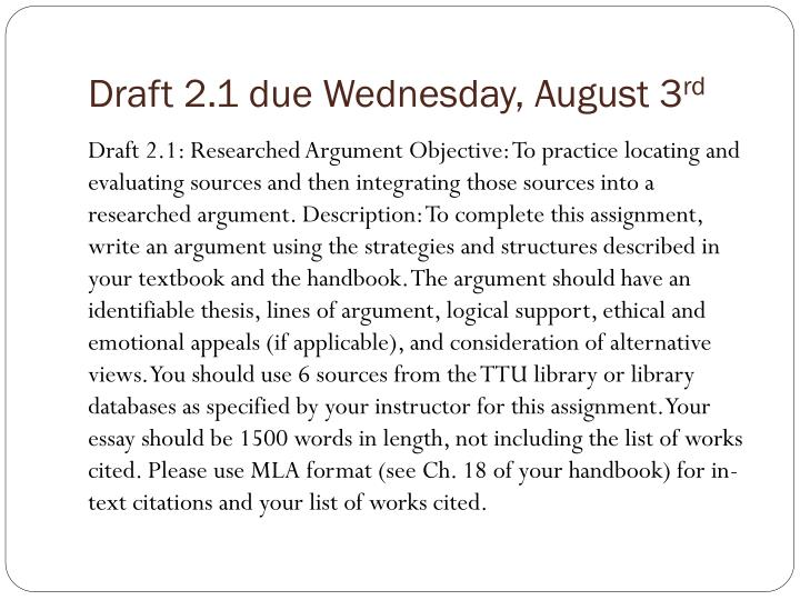Draft 2.1 due Wednesday,