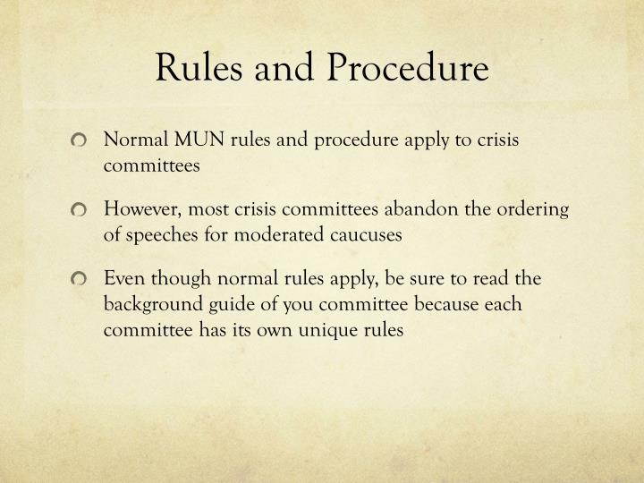 Rules and Procedure