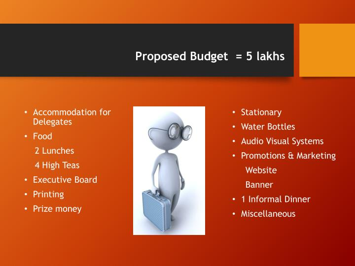 Proposed Budget  = 5 lakhs