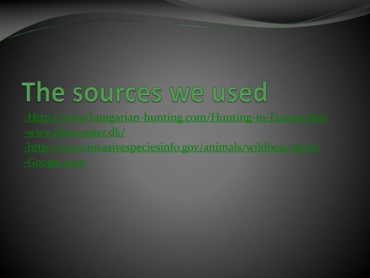 The sources we used