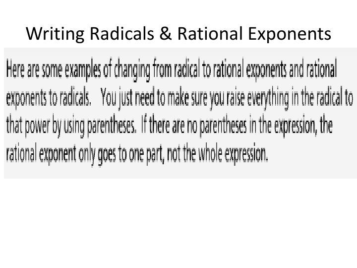 Writing Radicals & Rational Exponents