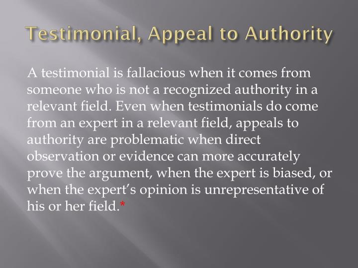 Testimonial, Appeal to Authority