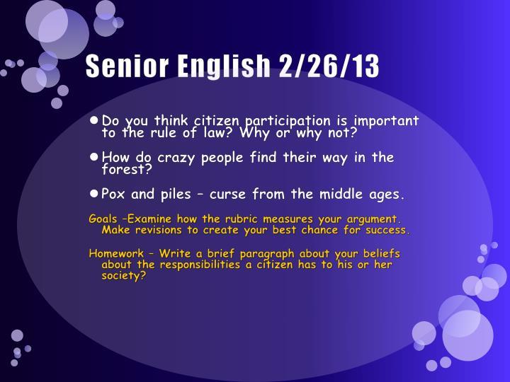 Senior English 2/26/13