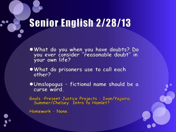 Senior English 2/28/13