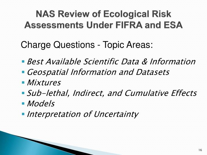 NAS Review of Ecological Risk Assessments Under FIFRA and ESA