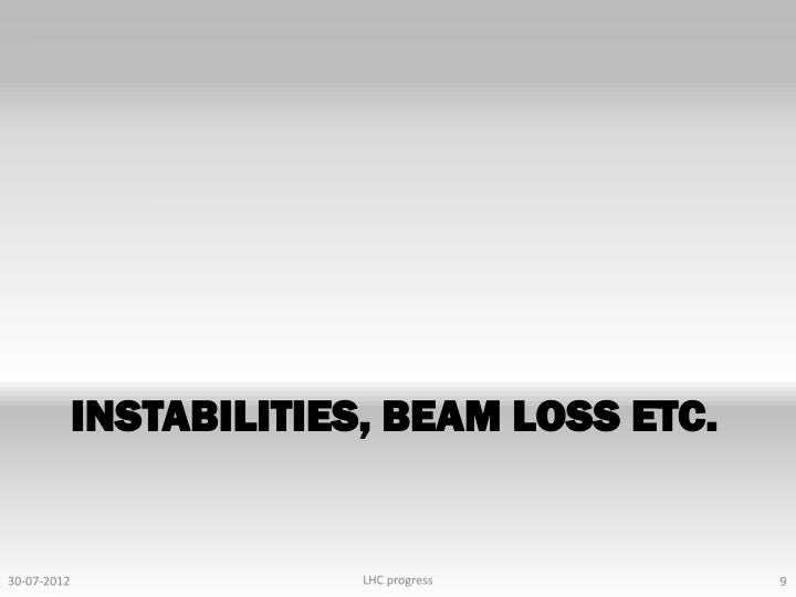 Instabilities, beam loss etc.
