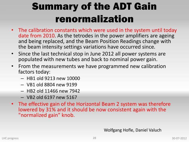 Summary of the ADT Gain