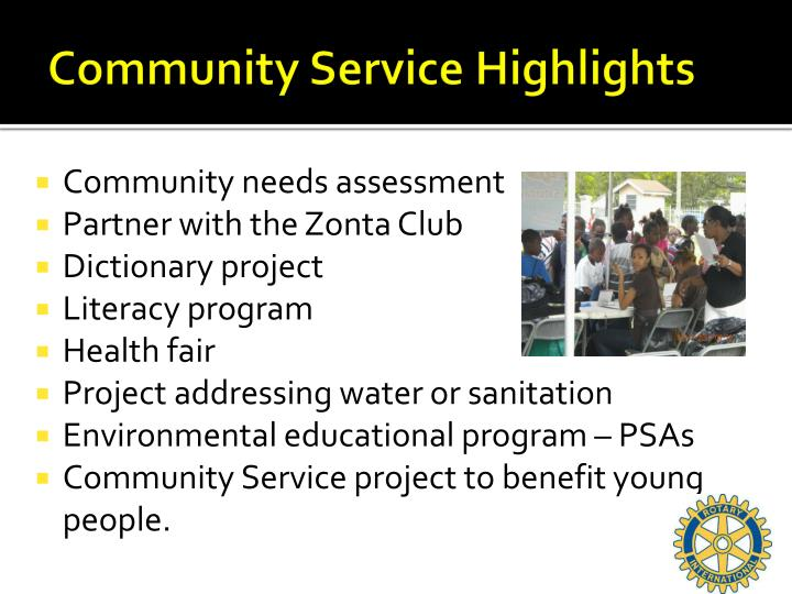 Community Service Highlights