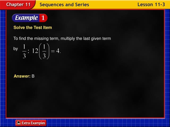 Solve the Test Item
