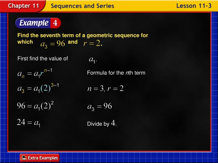 Find the seventh term of a geometric sequence for