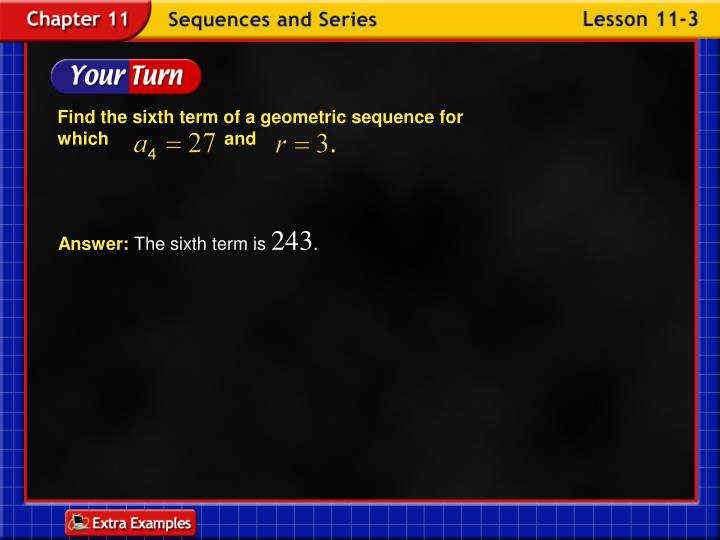 Find the sixth term of a geometric sequence for