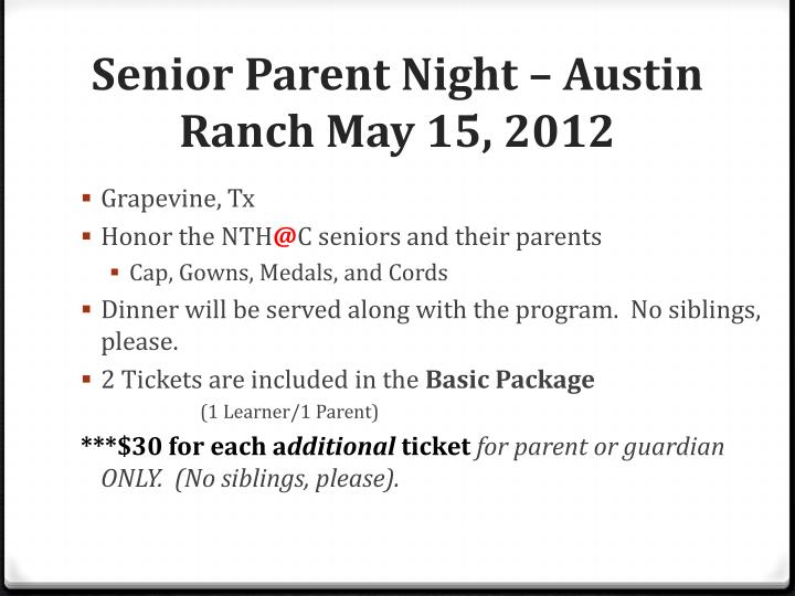 Senior Parent Night – Austin Ranch May 15, 2012