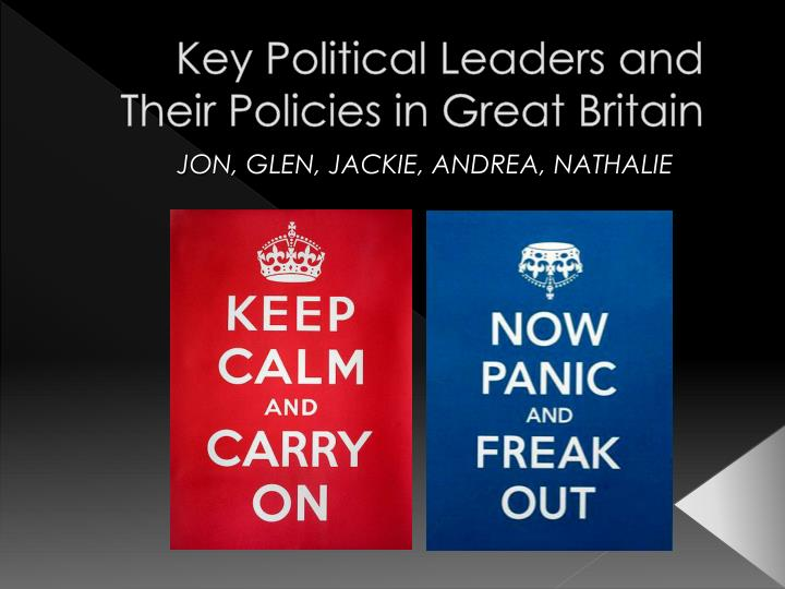 Key political leaders and their policies in great britain