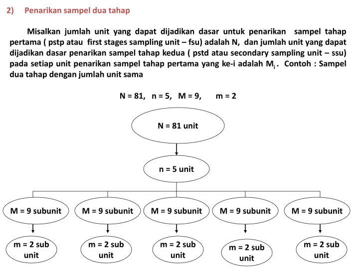 2)Penarikan sampel dua tahap