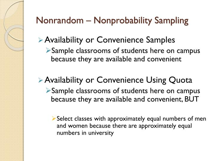 Nonrandom – Nonprobability Sampling