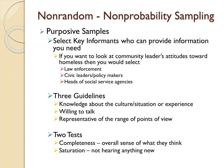Nonrandom - Nonprobability Sampling