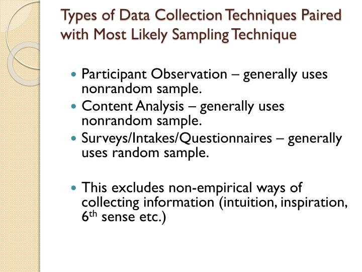 Types of Data Collection Techniques Paired with Most Likely Sampling Technique