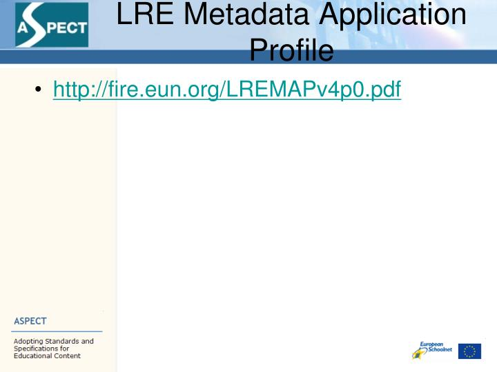 Lre metadata application profile