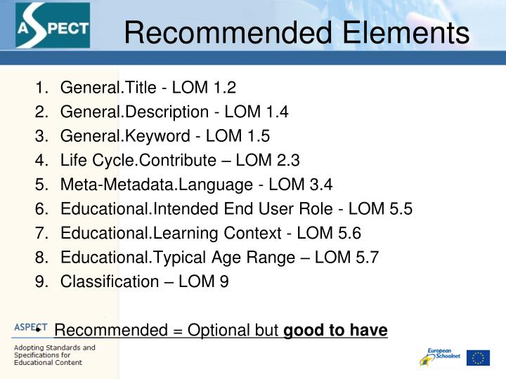 Recommended Elements