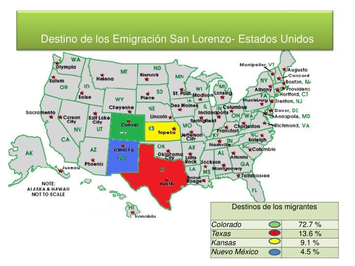 Destino de los Emigración San Lorenzo- Estados Unidos