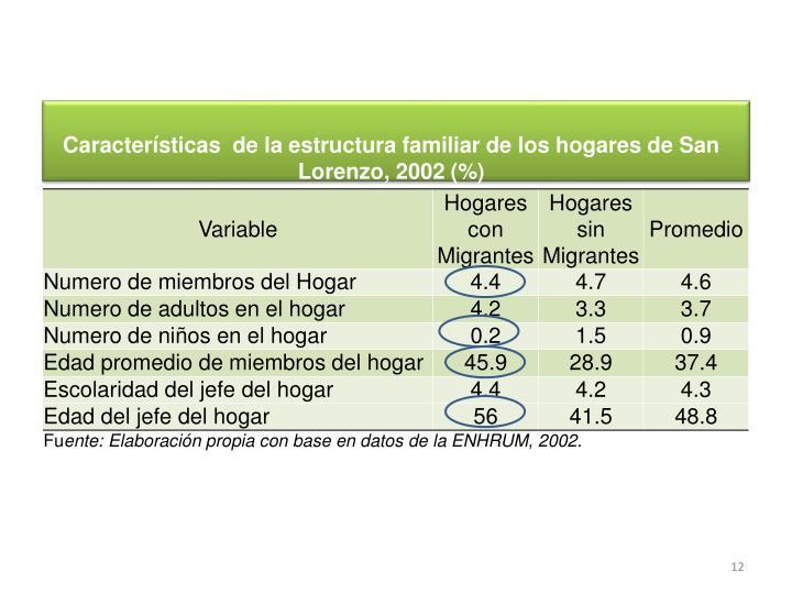 Características  de la estructura familiar de los hogares de San Lorenzo, 2002