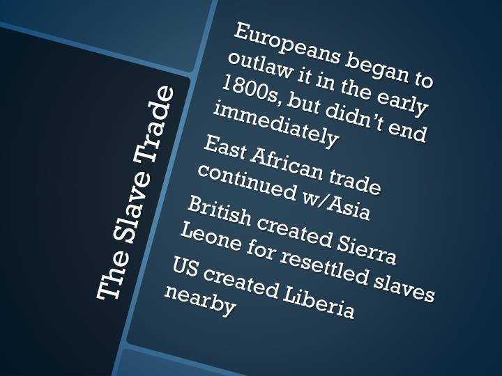 Europeans began to outlaw it in the early 1800s, but didn't end immediately